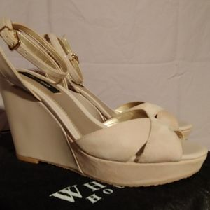 Nude Suede and Patent Leather Platform Sandal